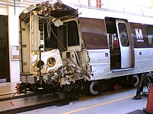 The crushed end of a subway car.