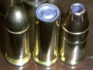 Wadcutter - .32 ACP full metal jacket, .32 S&W Long wadcutter, .380 ACP jacketed hollow point (L-R)