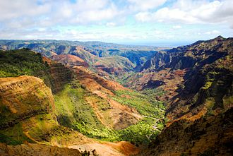 Isla Nublar - Waimea Canyon, Kauai was used as a stand-in for Isla Nublar