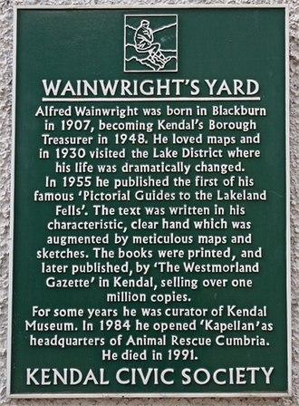 Alfred Wainwright - Plaque in Wainwright's Yard, Kendal
