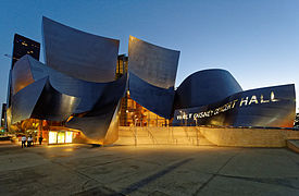 Walt Disney Concert Hall at sunset June 2013