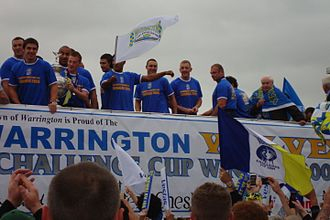 2009 Challenge Cup Final - Warrington celebrating the Cup win.