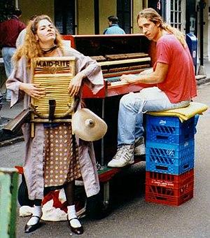 Washboard (musical instrument) - Washboard player accompanying piano