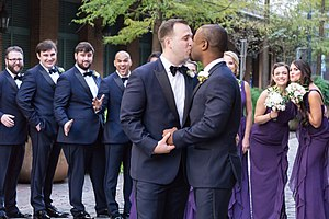 Same-sex marriage in the United States - Two men celebrate their marriage in the United States.