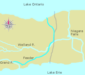 First Welland Canal - The Welland Canal including the Feeder Canal. The present-day canal is marked in pale grey