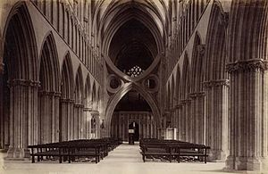 Wells Cathedral School - The nave and strainer arches of Wells Cathedral, c.1890
