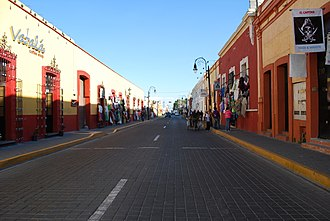 Cholula, Puebla - Looking west on Morelos Street in the downtown