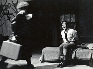 Westbeth Playwrights Feminist Collective - Rape-In showing scene from Liberation by Dolores Walker. Backdrop by Eunice Golden. Actors: Helen Pugatch, David Kent. 1971. Photo by Paul Lubitz