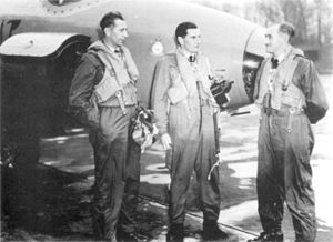 Andrew Humphrey - Humphrey (centre) with his two navigators after the flight from Cape Town to London