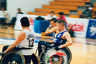 Wheelchair rugby at the 1996 Summer Paralympics - Image: Wheelchair rugby Atlanta Paralympics (2)
