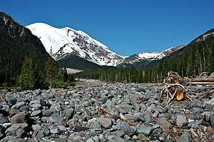White River (Washington) - The dry gravel bed of the White River floodplain near the campground in Mount Rainier National Park.