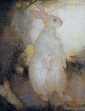 Jan Mankes - Image: White rabbit, standing, by Jan Mankes