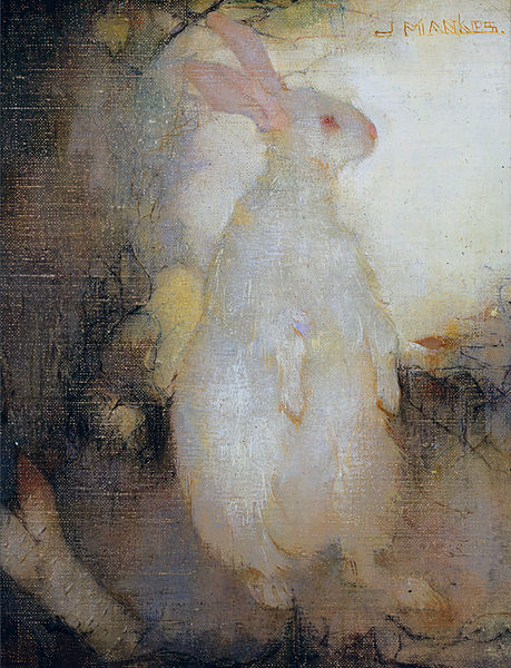 Fichier:White rabbit, standing, by Jan Mankes.jpg