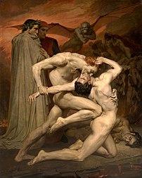 William Bouguereau, Dante et Virgile, 1850. Ce tableau est inspiré de la Divine Comédie de Dante Alighieri, et plus précisément d'une scène se déroulant au chant XXX de l'Enfer, quand Capocchio est mordu au cou par Gianni Schicchi. (définition réelle 2803×3515)