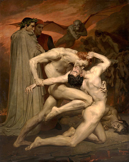 Dante and Virgil in Hell, painting by William-Adolphe Bouguereau (1850) William Bouguereau - Dante and Virgile - Google Art Project 2.jpg