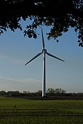 Wind turbine near Hasholme Hall (geograph 3734840).jpg