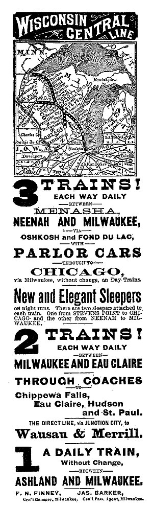 Wisconsin Central Railroad (1871–99) - Newspaper advertisement from 1883