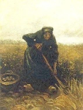 Woman lifting Potatoes by Vincent Van Gogh