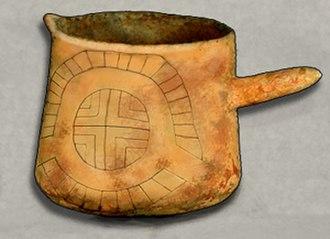Black drink - Ceramic beaker from Cahokia with woodhenge motif