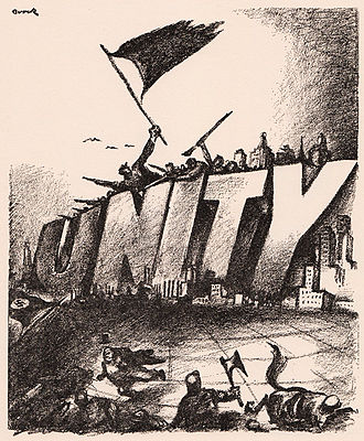 "Jacob Burck - ""Working Class Bulwark,"" a cartoon by Burck from The Daily Worker, circa 1934."