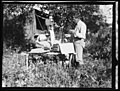 Working Over Herbarium Material at Camp on Impoverished Willow and White-Bark Birch Pole Table, P. H. Dorsett Posing - NARA - 5729276 (page 1).jpg