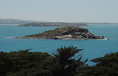 Wright Island, Encounter Bay, South Australia as seen from The Bluff. Granite Island is immediately behind Wright Island.