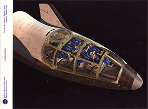 NASA X-38 - Graphical rendering of the X-38, with vehicle cutaway revealing 7-member crew's position during re-entry.