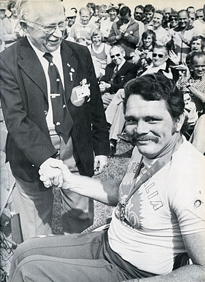 Australia at the 1976 Summer Paralympics -  Australian athlete Eric Russell with Ludwig Guttmann at the 1976 summer Paralympics