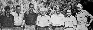 Israeli naval campaign in Operation Yoav - The sabotage team and Ben-Gurion. From left to right: Zalman Abramov, Yohai Bin-Nun, Ya'akov Reitov, David Ben-Gurion (PM/MoD), Ya'akov Vardi, Yitzhak Brockman, Ya'akov Dori (CoS)