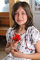 Young Turkish Girl with Flower - Aboard Ferry from Akdamar Island - Lake Van - Turkey (5796272681).jpg