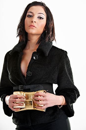Young woman in black dressing.