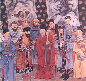 Zaju - A modern reconstruction of a mural depicting the Yuan zaju stage c. 1324. The original was found in the Guangsheng Temple of Shanxi province.