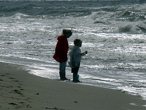 Zandvoort Beach. Children at the sea.