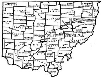 Zane's Tracts - Zane's Trace in shown in southern Ohio.