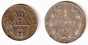Free City of Cracow - The currency of the Free City of Cracow: 5 groszy coin displaying coat of arms of the Free City and 1 złoty coin of 1835