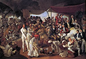 Cockfight - Colonel Mordaunt's cockfight in Lucknow, 1784–1786, by Johann Zoffany