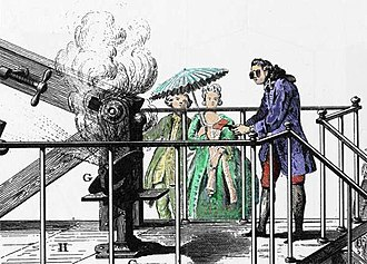 Combustion - Antoine Lavoisier conducting an experiment related to combustion generated by amplified sun light.