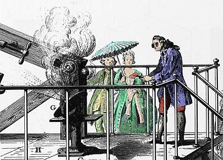 Antoine Lavoisier conducting an experiment related to combustion generated by amplified sun light Zoom lunette ardente.jpg