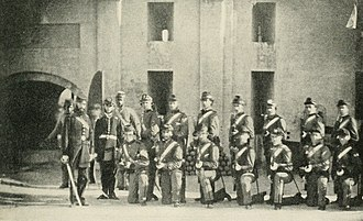 "Castle Pinckney - ""Charleston's Famous Zouave Cadets drilling at Castle Pinckney."""