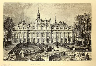 Royal Palace of La Granja de San Ildefonso - Drawing of La Granja palace and gardens in 1873.