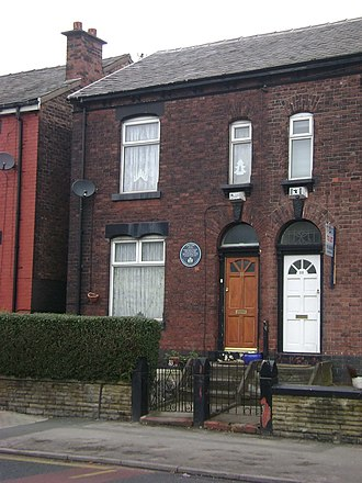 Fred Perry - The house where Fred Perry was born in on 33 Carrington Road, Stockport.