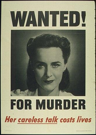 """Victor Keppler - Image: """"WANTED FOR MURDER HER CARELESS TALK COSTS LIVES"""" NARA 513599"""