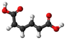 Ball-and-stick model of the cis,trans-muconic acid molecule