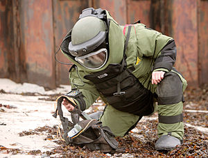 Bomb suit - An EOD technician wearing a bomb suit