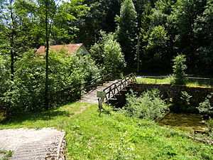 Čabranka - A wooden footbridge over the Čabranka