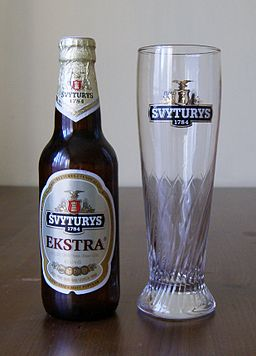 Švyturys Extra bottle and Švyturys glass