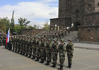 Mother Armenia - A military parade at the monument in 2018.
