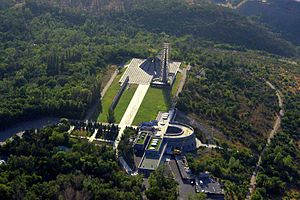 Tsitsernakaberd - Aerial view of the memorial and the museum