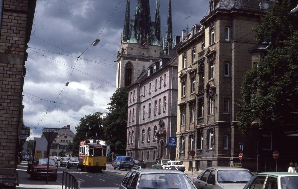 Straßenbahn in der Olgastraße, August 1985