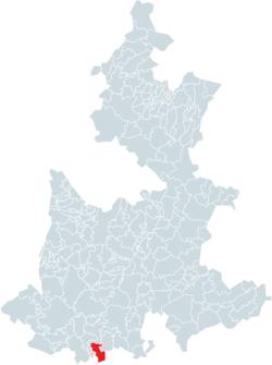 Vị trí của đô thị trong bang Puebla